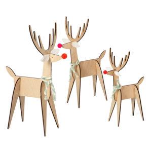 rennes en bois décoration de noël