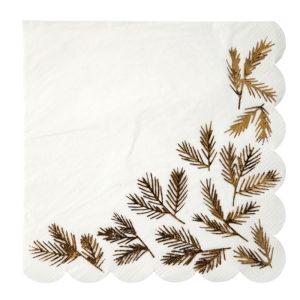 serviettes sapin feuilles dorées noël
