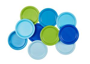 assiettes fête anniversaire bleu vert