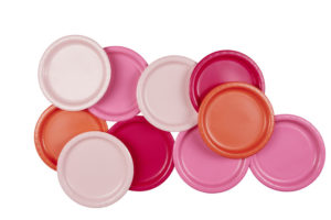 assiettes fête anniversaire rose