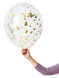 ballon confetti argent or anniversaire