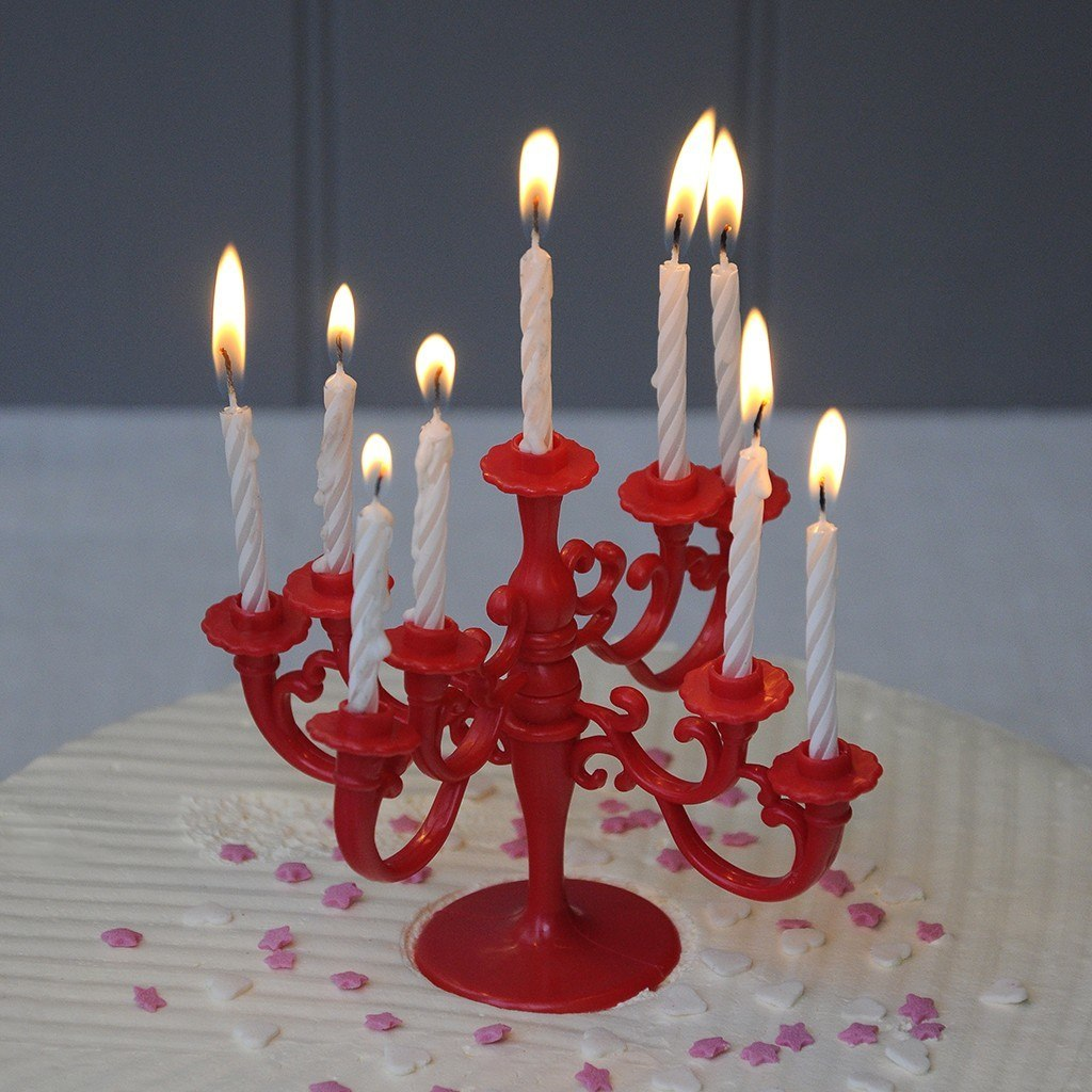 Celebration Cake Red Candelabra With Candles