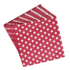 serviettes rouge pois blanc retro