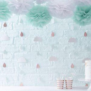 guirlande nuage goutte rideau baby shower