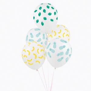 decoration anniversaire enfant-ballon-gonflable-baudruche-pasteque-citrons-ananas-bananes