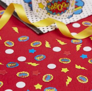 confettis-super-héro-comic-pop-art-fleches-anniversaire-enfants