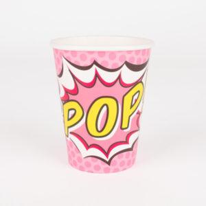 decoration-de-table-anniversaire-enfant-gobelets-en-carton-roses-pop