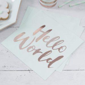 hello-world-serviettes-menthe-rose-dorée-babyshower