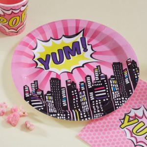 super-héro-pink-assiettes-anniversaire-enfant-fille