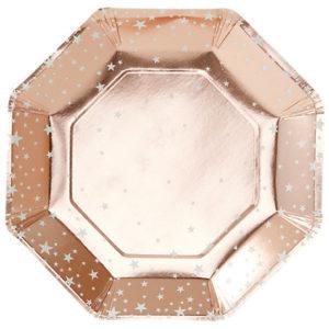 assiettes-rose-dorée-étoile-anniversaire-noel-gingerray