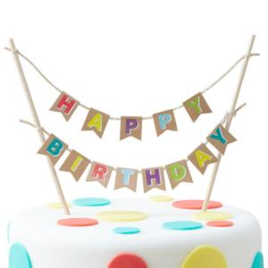 Birthday Cake Bunting Happy Kraft